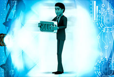 3d man holding site text board illustration Royalty Free Stock Photos