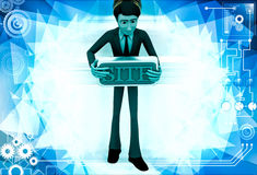 3d man holding site text board illustration Royalty Free Stock Images