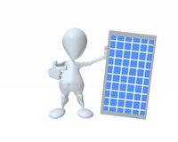 3d man holding a solar panel for clean power conservation Royalty Free Stock Photo