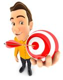 3d man holding a sphere target. Illustration with isolated white background Royalty Free Stock Photography