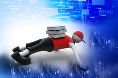 3d man holding stack of books. In color background Royalty Free Stock Photography