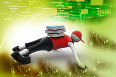 3d man holding stack of books Stock Photo