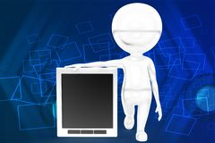 3d man holding tab illustration Stock Photo
