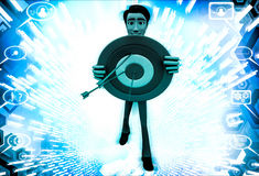 3d  man holding target board to aim on it illustration Stock Photo