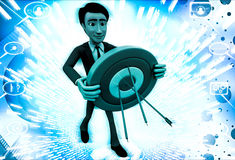 3d  man holding target board to aim on it illustration Royalty Free Stock Photos