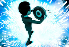 3d  man holding target board to aim on it illustration Royalty Free Stock Photography