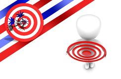 3d man holding target in hands concept. 3d rendering , top angle view stock illustration