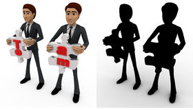3d man holding team puzzle pieces in hand concept collections with alpha and shadow channel Stock Images