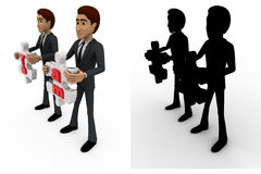 3d man holding team puzzle pieces in hand concept collections with alpha and shadow channel Royalty Free Stock Photos