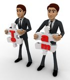3d man holding team puzzle pieces in hand concept Royalty Free Stock Photography
