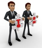 3d man holding team puzzle pieces in hand concept Stock Photos