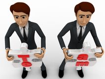 3d man holding team puzzle pieces in hand concept Royalty Free Stock Photos