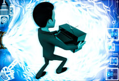 3d man holding television in hand illustration Royalty Free Stock Images