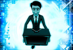 3d man holding television in hand illustration Stock Images