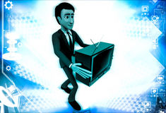 3d man holding television in hand illustration Stock Image