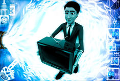 3d man holding television in hand illustration Stock Photography