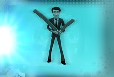 3d man holding tick mark sign illustration Royalty Free Stock Photography