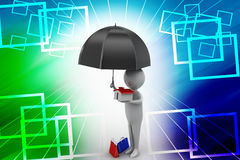 3d Man holding a umbrella and a house illustration Stock Image