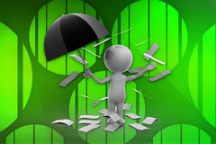 3d man holding umbrella and paper flying around illustration Royalty Free Stock Photo