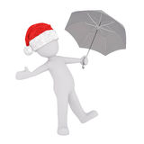 3d man holding an umbrella testing for rain. 3d man wearing a festive red Santa Claus hat holding an umbrella holding out his hand testing for rain, rendered Stock Photography