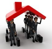 3d man holding up roof of house concept Stock Photo