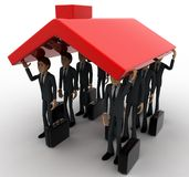 3d man holding up roof of house concept Royalty Free Stock Photos