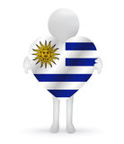 3d man holding a Uruguay flag Stock Images