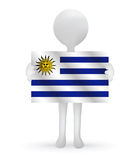 3d man holding a Uruguay flag. Small 3d man holding a Uruguay flag Royalty Free Stock Photo