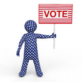 3d man holding voting placard Royalty Free Stock Photography