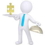 3d man holding plate with gold puzzle. 3d man holding a white plate with a gold puzzle. Isolated render on a white background Stock Photo