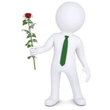 3d man holding a white rose. Isolated render on a white background Stock Photos