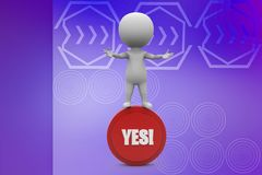 3d Man holding yes illustration Royalty Free Stock Photography