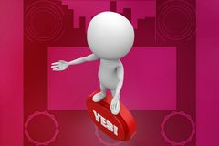 3d Man holding yes illustration Royalty Free Stock Photo