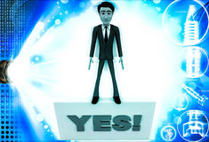 3d man holding yes sign board illustration Stock Image
