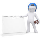 3d man holds a football helmet desk calendar. Isolated render on a white background Royalty Free Stock Photography