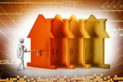3d man holds the key and the icon of the house. In color background Stock Photo