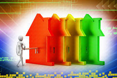 3d man holds the key and the icon of the house. On color background Royalty Free Stock Photography