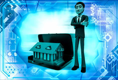 3d man with hom in suitcase illustration Stock Image