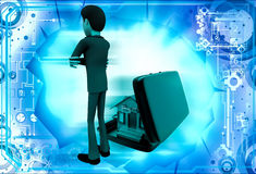 3d man with hom in suitcase illustration Royalty Free Stock Photography