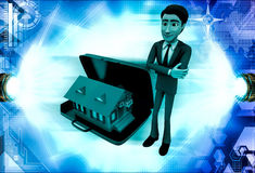3d man with hom in suitcase illustration Royalty Free Stock Photo