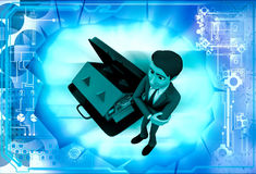 3d man with hom in suitcase illustration Stock Photos