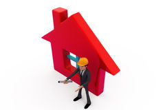 3d man home build concept Royalty Free Stock Photo