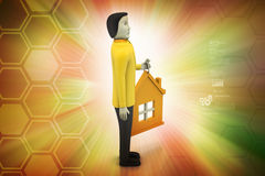 3d man with home Stock Images