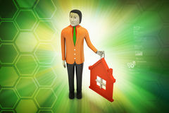 3d man with home Stock Photo