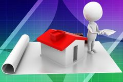 3d man home construction details illustration Stock Image