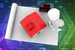 3d man home construction details illustration Royalty Free Stock Photography