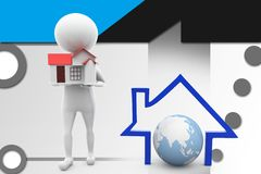 3d man with home and earth icon illustration Stock Image