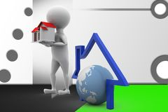 3d man with home and earth icon illustration Royalty Free Stock Image