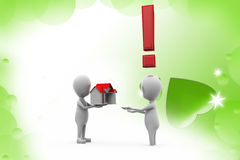 3d man home in hand surprise  illustration Stock Photo