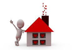 3d man home heart concept Royalty Free Stock Images